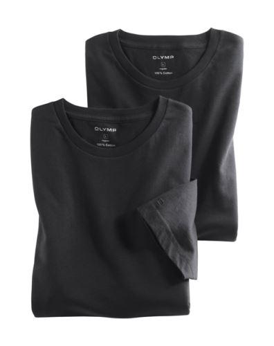 Čierne bavlnené tričko Olymp s krátkym rukávom - kulatý výstrih (2 ks)