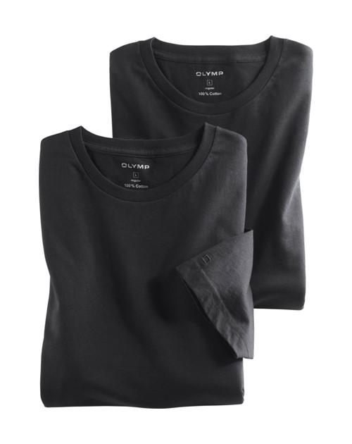 07ed1861f121 Čierne bavlnené tričko Olymp s krátkym rukávom - kulatý výstrih (2 ks)