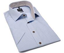 Olymp Modern Fit – světle modrá košile s béžovými čtverečky a vnitřním límcem - krátký rukáv