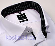 Olymp Luxor Modern Fit  – bílá košile s černo-bílým vnitřním límcem, manžetou a légou