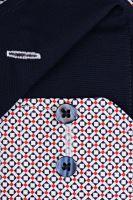 Eterna Modern Fit – košeľa s červeno-modrým vzorom a vnútorným golierom - predĺžený rukáv