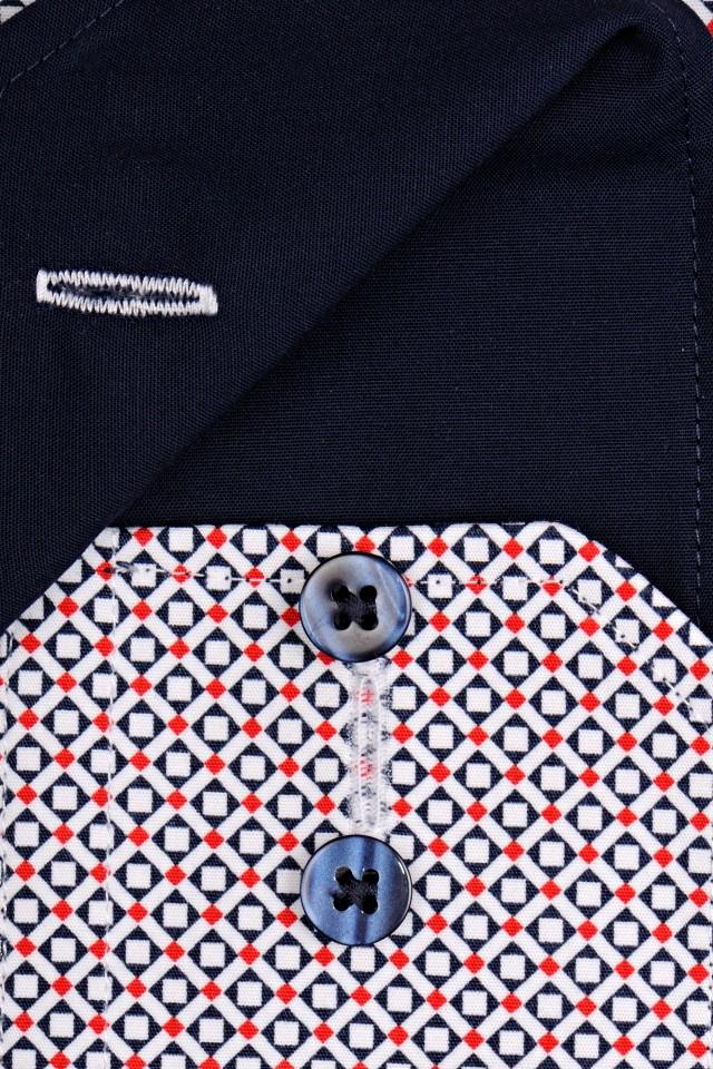 8838e98f5189 Eterna Modern Fit – košeľa s červeno-modrým vzorom a vnútorným golierom -  extra predĺžený