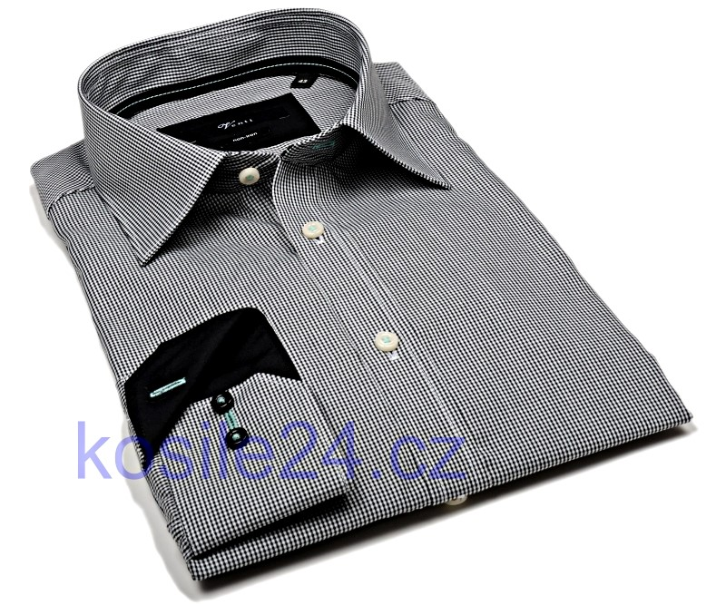Venti Slim Fit – čierne minikáro s vnútorným golierom a manžetou - extra  predĺžený rukáv 1e1e9f7678
