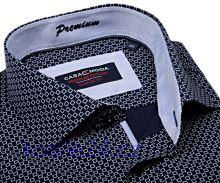 Casa Moda Comfort Fit Premium – tmavomodrá košeľa s bielym vzorom s vnútorným golierom - predĺžený rukáv