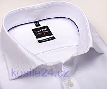 Olymp Level Five Diamant Twill – luxusní bílá košile s diagonální strukturou - prodloužený rukáv