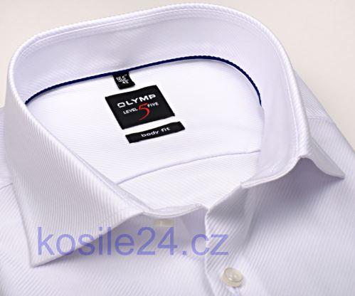 Olymp Level Five Diamant Twill – luxusná biela košeľa s diagonálnou štruktúrou