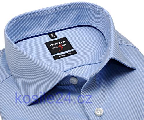 Olymp Level Five Diamant Twill – luxusní světle modrá košile s diagonální strukturou