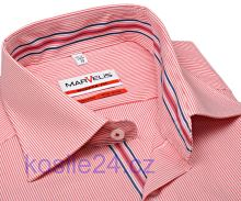 Marvelis Modern Fit – košeľa s červeným prúžkom a vnútorným golierom - predĺžený rukáv