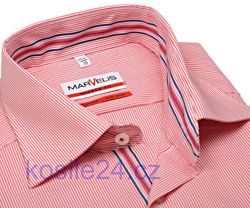 Marvelis Modern Fit – košile s červeným proužkem a vnitřním límcem -  prodloužený rukáv 8f170d792d