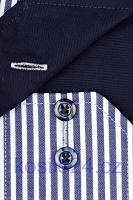 Eterna Comfort Fit Twill – košile s tmavomodrým proužkem s vnitřním límcem a manžetou