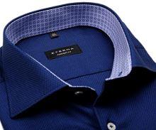 Eterna Comfort Fit - tmavě modrá košile s jemnou strukturou a modro-bílým vnitřním límcem