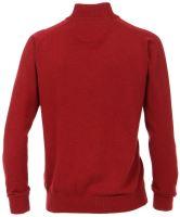 Bavlnený sveter na zips Casa Moda – červený - extra predĺžený rukáv