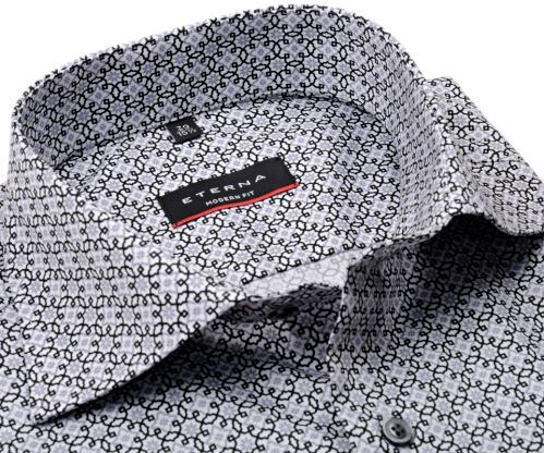 Eterna Modern Fit Twill – luxusní košile s černo-šedými ornamenty