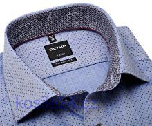 Olymp Modern Fit – modrá košeľa s vínovo červenými bodkami a vnútorným golierom a manžetou