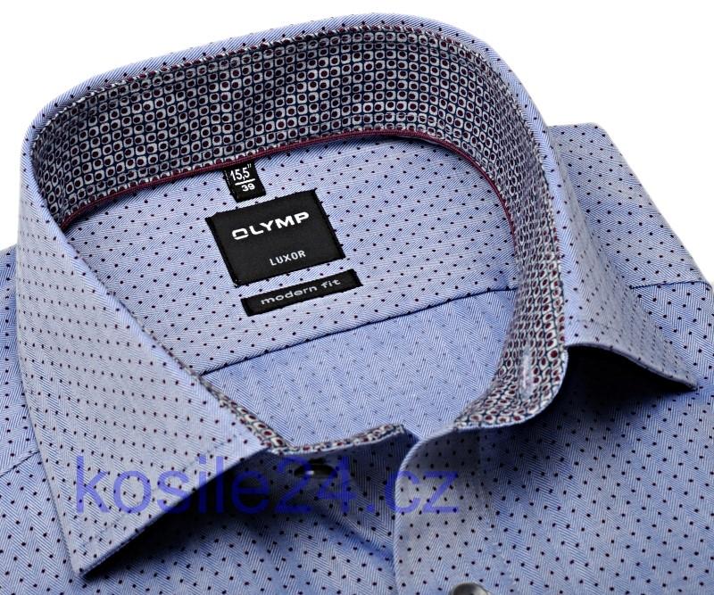 4119a408c5e5 Olymp Modern Fit – modrá košeľa s vínovo červenými bodkami a vnútorným  golierom a manžetou