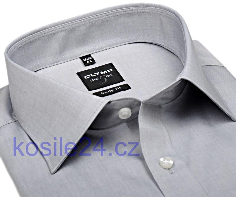 Košile Level Five – světle šedá super slim košile 630bda288a