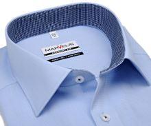 Marvelis Comfort Fit - svetlomodrá košeľa s mikro-károm a vnútorným golierom - krátky rukáv