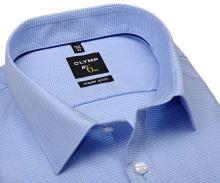 Olymp Super Slim – světle modrá košile se vzorem kohoutí stopy