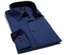 Olymp Modern Fit – modrá košile s vetkaným vzorem a bílými znaménky