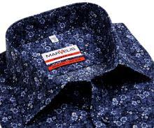 Marvelis Modern Fit - dizajnová tmavomodrá košeľa s tľačeným vzorom - predĺžený rukáv