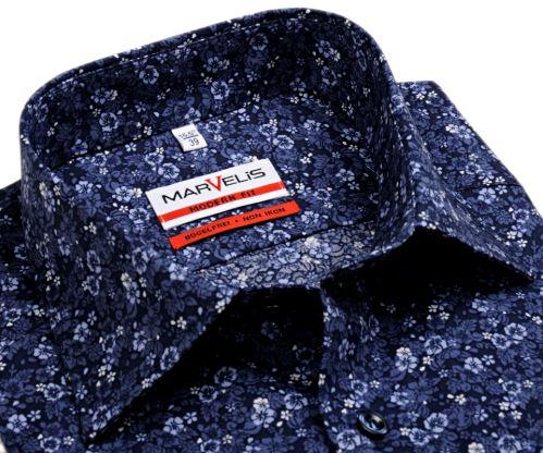 Marvelis Modern Fit – designová tmavomodrá košile s tištěným vzorem - prodloužený rukáv