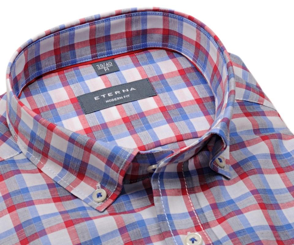 b1aae4b72ee9 Eterna Comfrot Fit – červeno-modrá károvaná košeľa s prímesou ľanu - krátky  rukáv