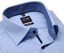 Olymp Level Five - svetlomodrá košeľa s votkaným vzorom, vnútorným golierom - predĺžený rukáv
