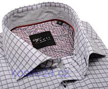 Venti Slim Fit – šedá košile s mřížkováním a vnitřním límcem, manžetou a légou