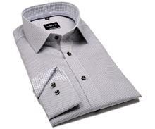 Venti Modern Fit – košile s šedo-černým vetkaným vzorem a vnitřním límcem - extra prodloužený rukáv