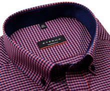 Eterna Modern Fit – červeno-modrá károvaná košeľa s vnútorným golierom - krátky rukáv