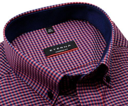 Eterna Modern Fit – červeno-modrá károvaná košile s vnitřním límcem a manžetou