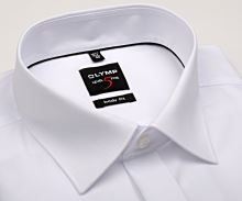 Olymp Level Five - biela gala košeľa s dvojitou manžetou a skrytou légou - predĺžený rukáv