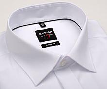 Olymp Level Five - biela gala košeľa s dvojitou manžetou a skrytou légou