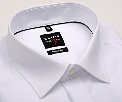 Olymp Level Five - bílá gala košile s dvojitou manžetou a skrytým zapínáním