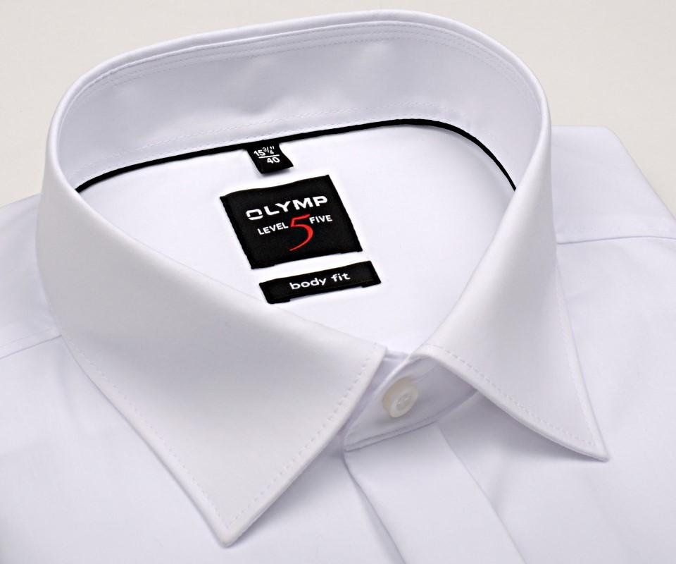 767a1b69bbff Olymp Level Five - biela gala košeľa s dvojitou manžetou a skrytou légou