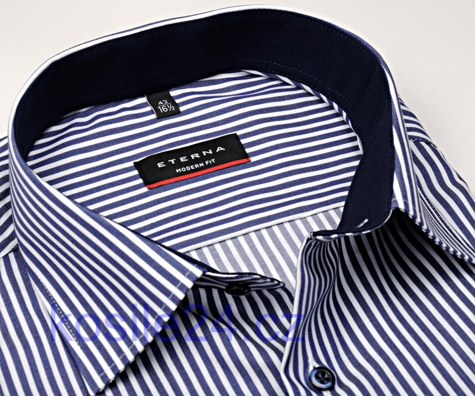 0b72167265b5 Eterna Modern Fit Twill – košeľa s tmavomodrým prúžkom s vnútorným golierom  a manžetou