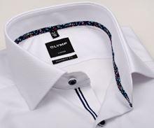 Olymp Modern Fit – biela košeľa s jemným vzorom a farebnou vnútornou manžetou - predĺžený rukáv