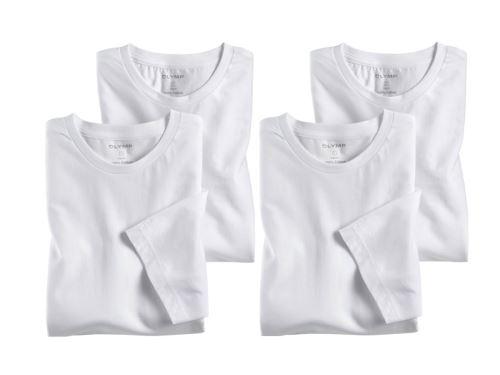 Bílé bavlněné tričko Olymp s krátkým rukávem - kulatý výstřih - výhodné balení 4 ks