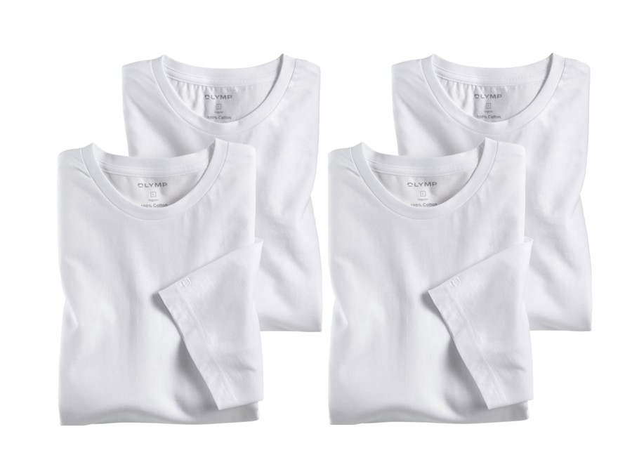 1d67a02c67bf Biele bavlnené tričko Olymp s krátkym rukávom - kulatý výstrih - výhodné  balenie 4 ks