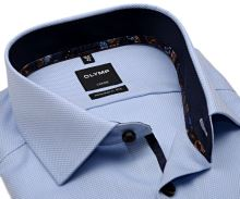 Olymp Modern Fit – světle modrá košile s vetkaným vzorem a tmavomodrým vnitřním límcem a manžetou