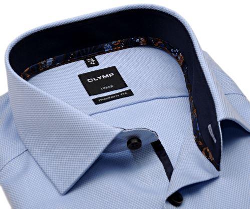 Olymp Modern Fit – svetlomodrá košeľa s votkaným vzorom a tmavomodrým vnútorným golierom - predĺžený rukáv
