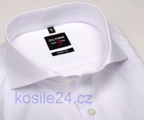 Olymp Level Five – bílá košile s dvojitou manžetou - prodloužený rukáv