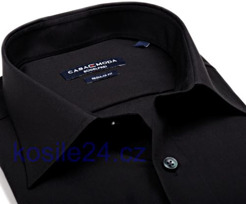 Casa Moda Comfort Fit Popelin – černá košile - krátký rukáv