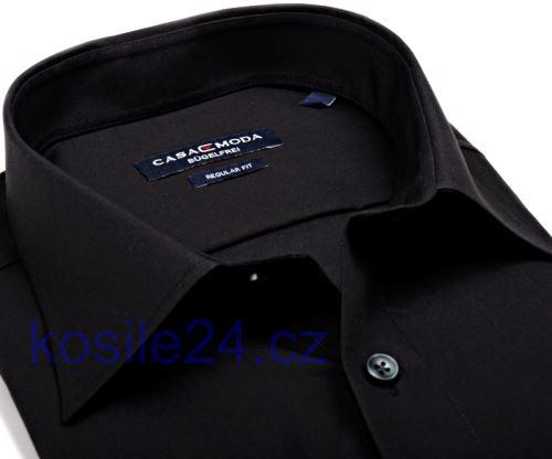 Casa Moda Comfort Fit Popeline – čierna košeľa - krátky rukáv