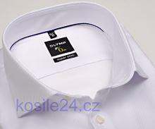 Olymp Super Slim Diamant Twill – luxusná biela košeľa s diagonálnou štruktúrou