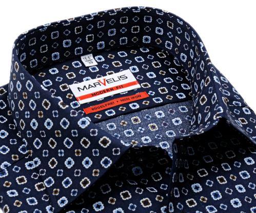 Marvelis Modern Fit - tmavomodrá košeľa s béžovo-modrými ornamentmi
