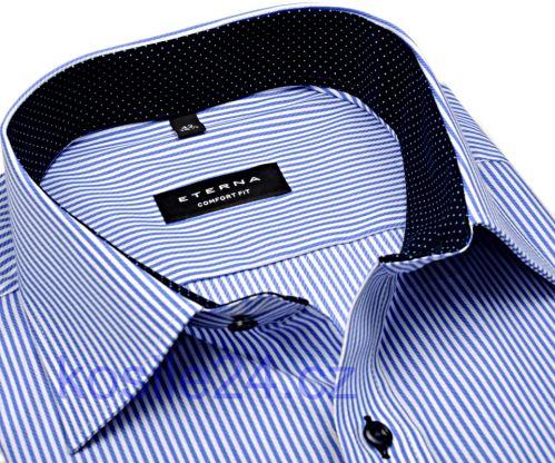 Eterna Comfort Fit Twill – košeľa s modrým prúžkom s vnútorným golierom a manžetou