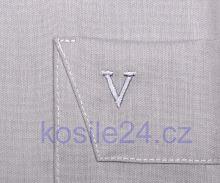 Marvelis Comfort Fit Chambray – světle šedá košile - krátký rukáv