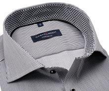 Casa Moda Comfort Fit Premium – košeľa s votkaným čienym prúžkom - extra predĺžený rukáv