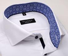 Eterna Comfort Fit - biela košeľa s jemnou štruktúrou a vnútorným golierom - krátky rukáv